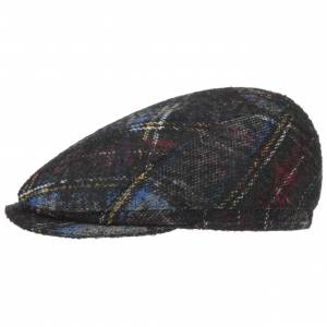 Hatshopping Tompson Wool Check Flat Cap Col.  black, size 55 cm