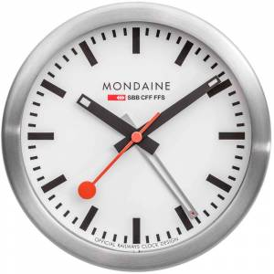Mondaine Mini Desk Clock 125 mm White / Day Date And Alarm unisex