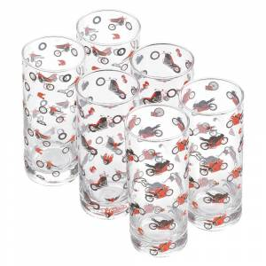 Booster Drinking Glasses 6 Units One Size Clear / Red / Black