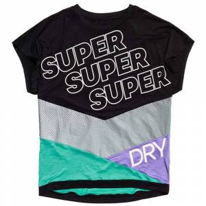 superdry T-Shirts Super Sport  - Female - Black / Mochi Green - Size: Medium