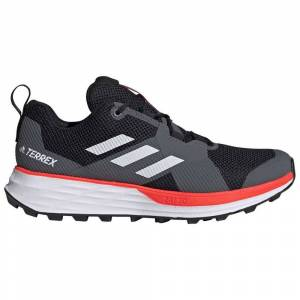 Adidas Shoes Terrex Two  - Adult - Core Black / Footwear White / Solar Red - Size: UK 13.5