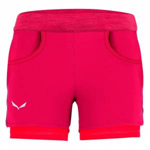 Salewa Pants Agner Durastretch  - Kids - Rose Red Int.Fluo Coral - Size: 116 cm