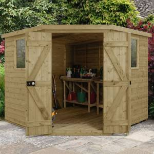 Forest Garden 8' x 8' Forest Premium Tongue And Groove Pressure Treated Wooden Corner Shed (3.46 x 2.8m)