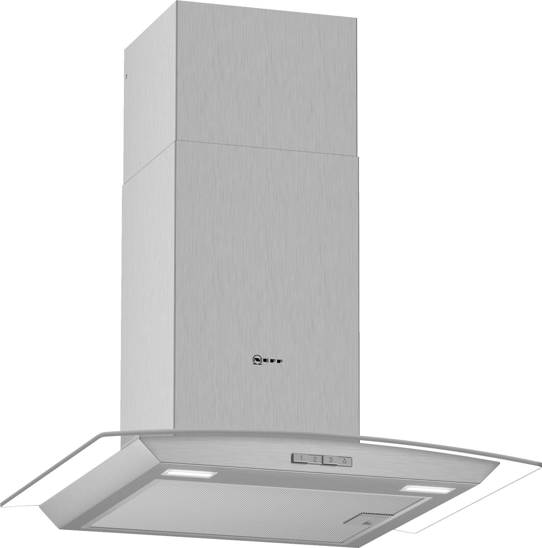 Neff D64ABC0N0B 60cm Curved Chimney Cooker Hood - Stainless Steel
