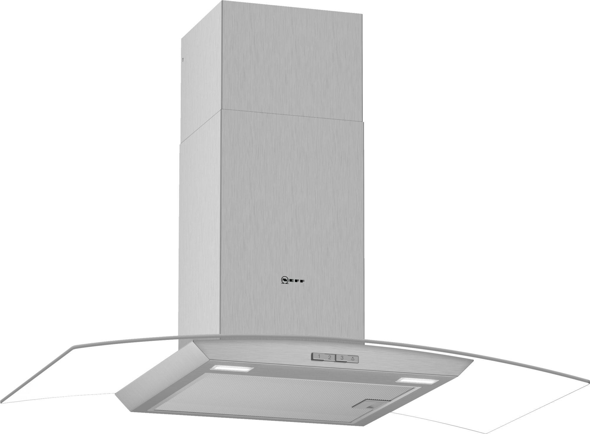 Neff D94ABC0N0B 90cm Curved Chimney Cooker Hood - Stainless Steel