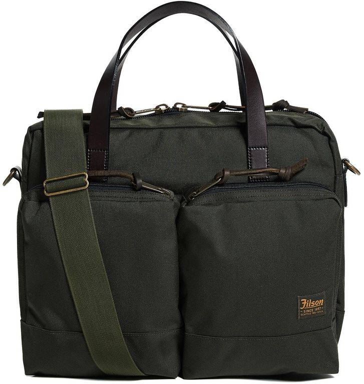 Filson Dryden Leather-trimmed Camouflage-print Nylon Briefcase - Black - Filson Briefcases