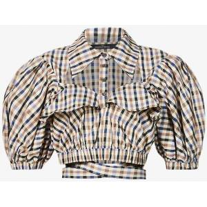 ROKH Checked Puff-sleeve Woven Top - Brown - ROKH Tops