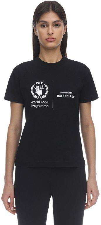 Balenciaga World Food Programme Print T-shirt - Black - Balenciaga Tops