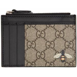 Gucci Beige GG Bee Zip Card Holder - Natural - Gucci Wallets