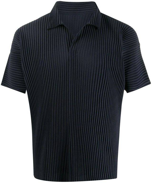 Homme Plissé Issey Miyake Pleated Polo Shirt - Blue - Homme Plissé Issey Miyake T-Shirts
