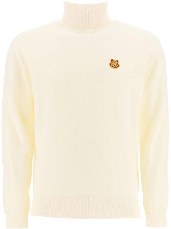 Kenzo Turtleneck Sweater With Tiger Patch - Natural - KENZO Knitwear