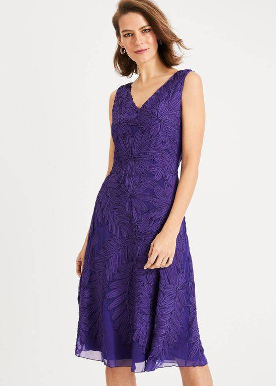 Phase Eight Denise Tapework Dress - Purple - Phase Eight Dresses