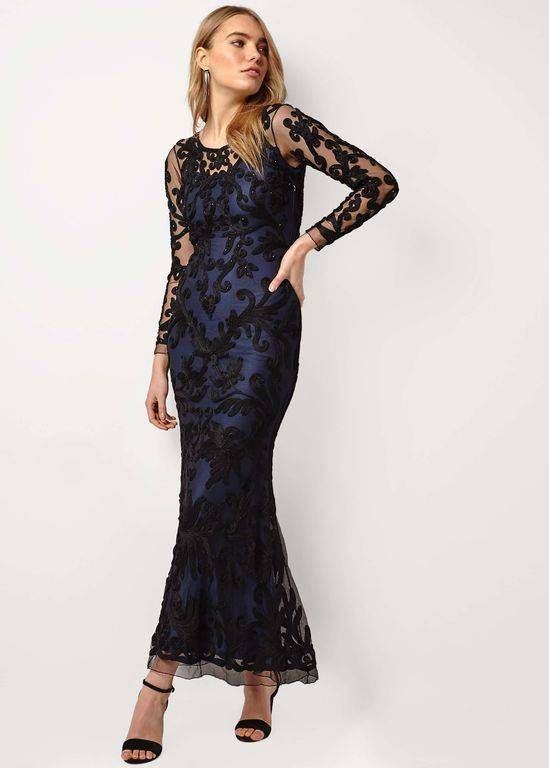 Phase Eight Aubree Tapework Full Length Dress - Black - Phase Eight Dresses
