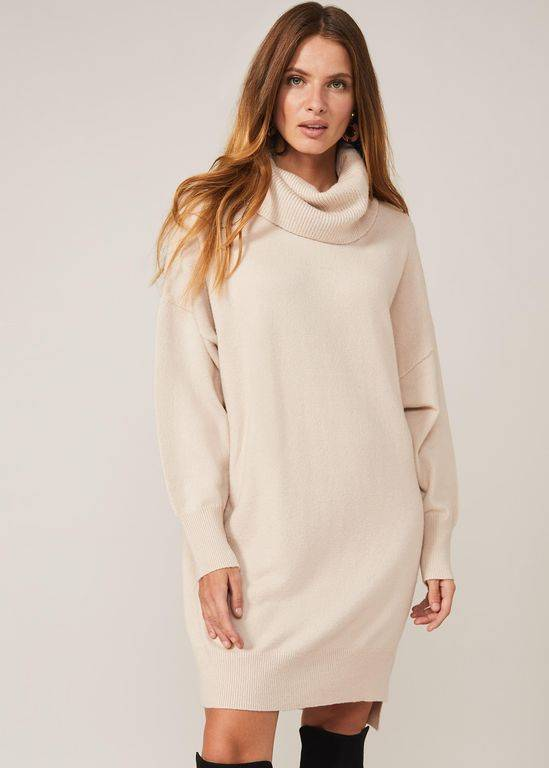 Phase Eight Palmer Cowl Knit Dress - Natural - Phase Eight Dresses
