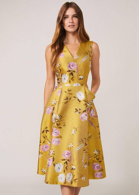 Phase Eight Multicoloured Cecily Jacquard Fit & Flare Dress - Yellow - Phase Eight Dresses