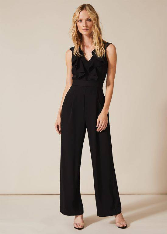 Phase Eight Linda Frill Wrap Jumpsuit - Black - Phase Eight Jumpsuits