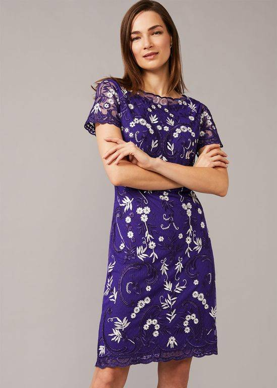 Phase Eight Floris Embroidered Dress - Blue - Phase Eight Dresses