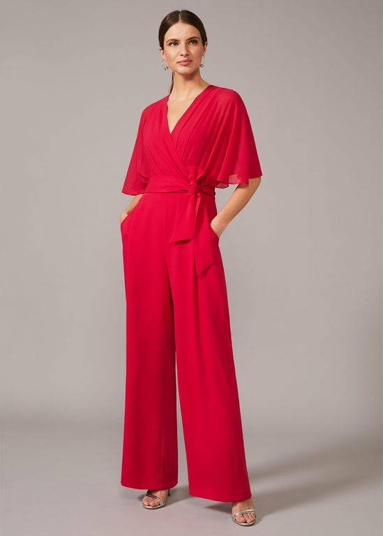 Phase Eight Munroe Wide Leg Jumpsuit - Red - Phase Eight Jumpsuits