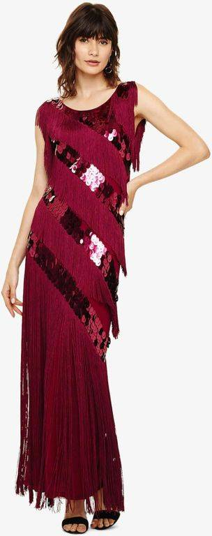 Phase Eight Annabeth Fringe Maxi Dress - Red - Phase Eight Dresses
