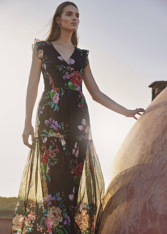 Phase Eight Isadora Floral Maxi Dress - Black - Phase Eight Dresses