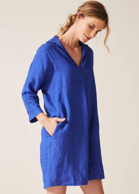 Phase Eight Kathy Linen Dress - Blue - Phase Eight Dresses