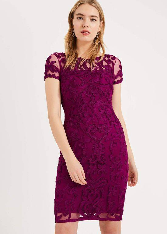 Phase Eight Sheena Tapework Lace Dress - Purple - Phase Eight Dresses