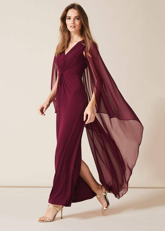 Phase Eight Edna Cape Maxi Dress - Red - Phase Eight Dresses