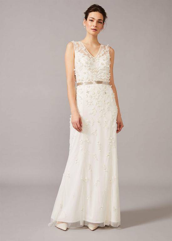 Phase Eight Frida Floral Applique Wedding Dress - White - Phase Eight Dresses