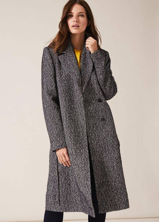 Phase Eight Tess Tweed Belted Coat - Gray - Phase Eight Coats