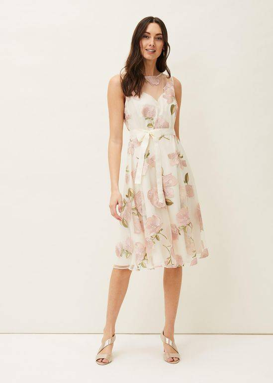 Phase Eight Charlotte Floral Embroidered Dress - Natural - Phase Eight Dresses