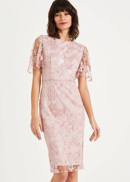 Phase Eight Harlow Sequin Lace Dress - Pink - Phase Eight Dresses