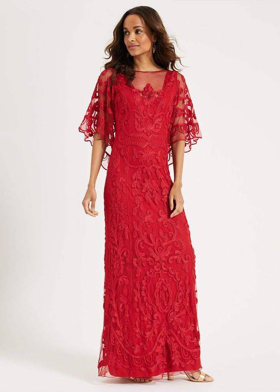 Phase Eight Aviana Tapework Lace Maxi Dress - Red - Phase Eight Dresses