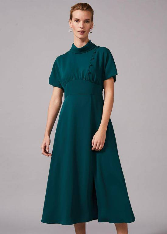 Phase Eight Aleandra Button Detail Dress - Green - Phase Eight Dresses