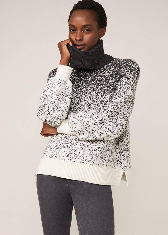 Phase Eight Aveline Ombre Jacquard Jumper - Gray - Phase Eight Knitwear