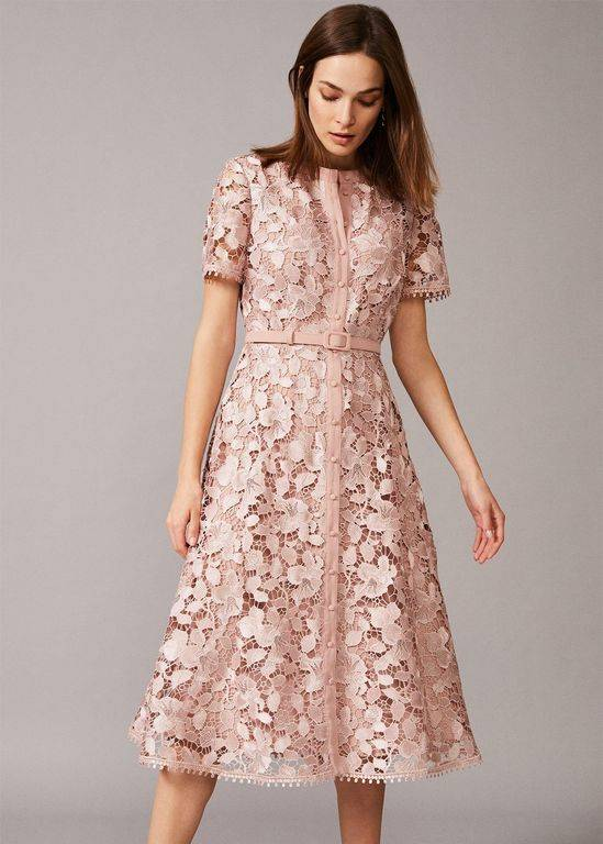 Phase Eight Samana Lace Shirt Dress - Pink - Phase Eight Dresses