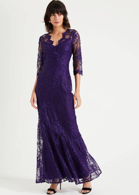 Phase Eight Grace Lace Maxi Dress - Purple - Phase Eight Dresses