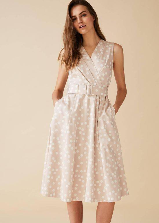 Phase Eight Polly Fit And Flare Spot Dress - Natural - Phase Eight Dresses
