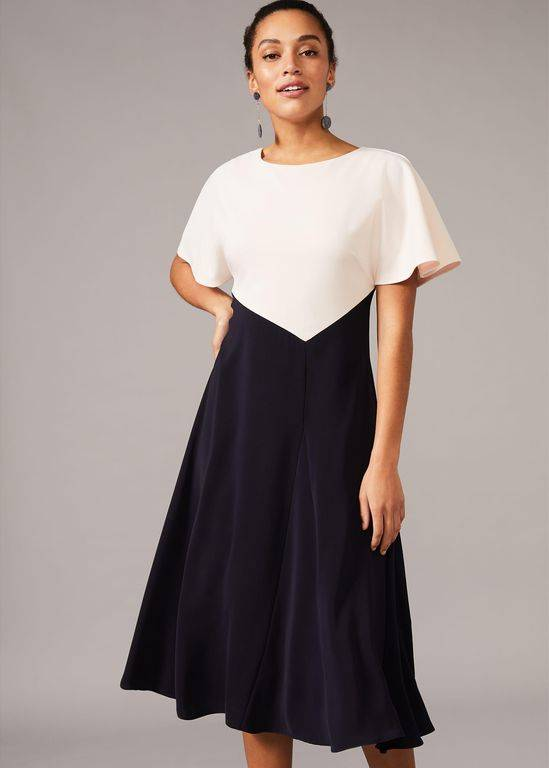 Phase Eight Ivee Colourblock Swing Dress - Blue - Phase Eight Dresses
