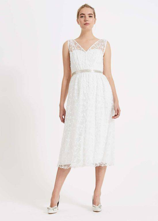 Phase Eight Amalia Embroidered Wedding Dress - White - Phase Eight Dresses