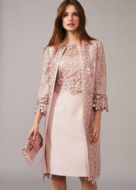 Phase Eight Mariposa Lace Occasion Coat - Pink - Phase Eight Coats