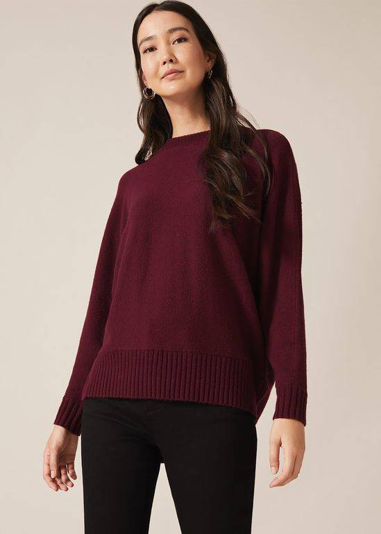 Phase Eight Palmer Boxy Knit Jumper - Red - Phase Eight Knitwear