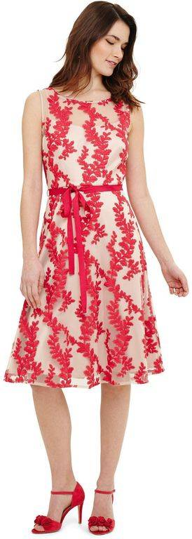 Phase Eight Adele Embroidered Dress - Red - Phase Eight Dresses
