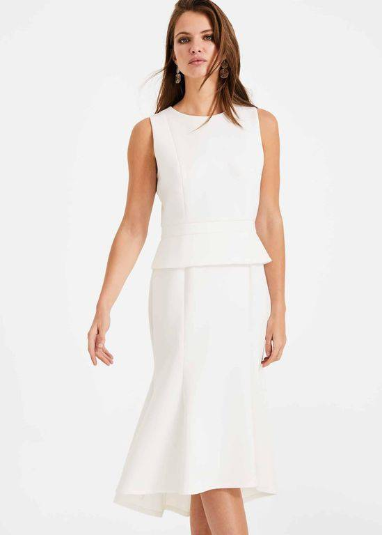 Phase Eight Kerry Peplum Dress - White - Phase Eight Dresses