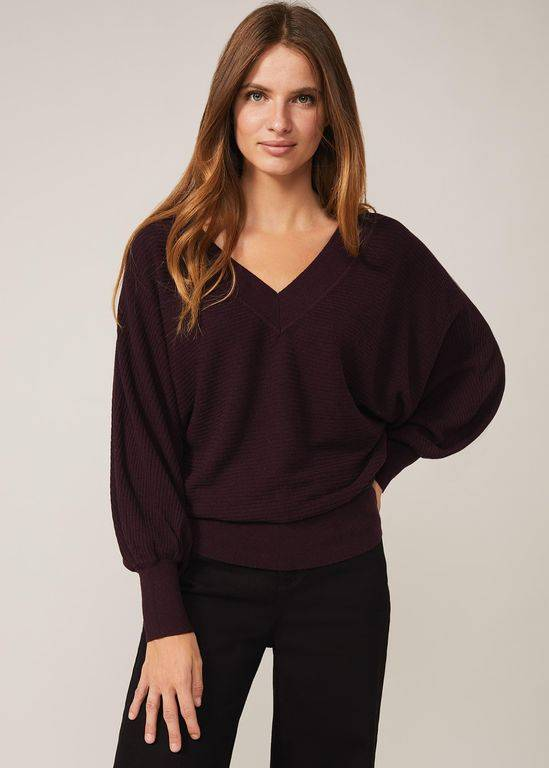 Phase Eight Aria V-neck Jumper - Black - Phase Eight Knitwear