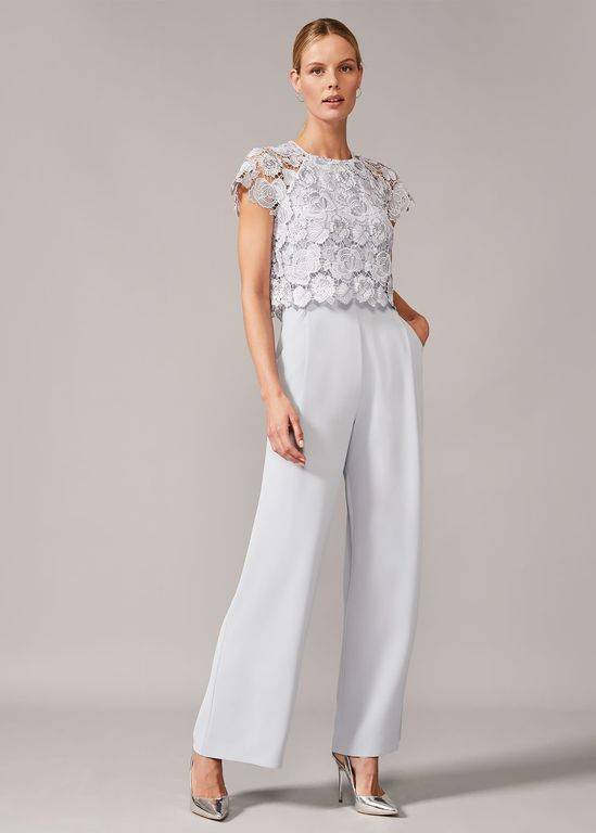 Phase Eight Brandie Lace Bodice Jumpsuit - Gray - Phase Eight Jumpsuits