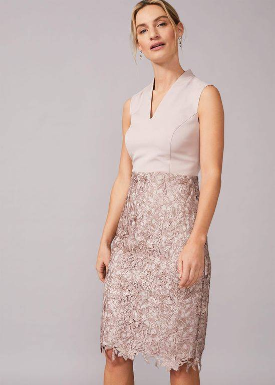 Phase Eight Aletta Lace Fitted Dress - Natural - Phase Eight Dresses