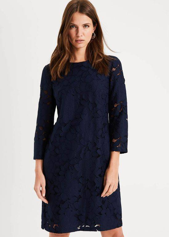 Phase Eight Kacie Lace Shift Dress - Blue - Phase Eight Dresses