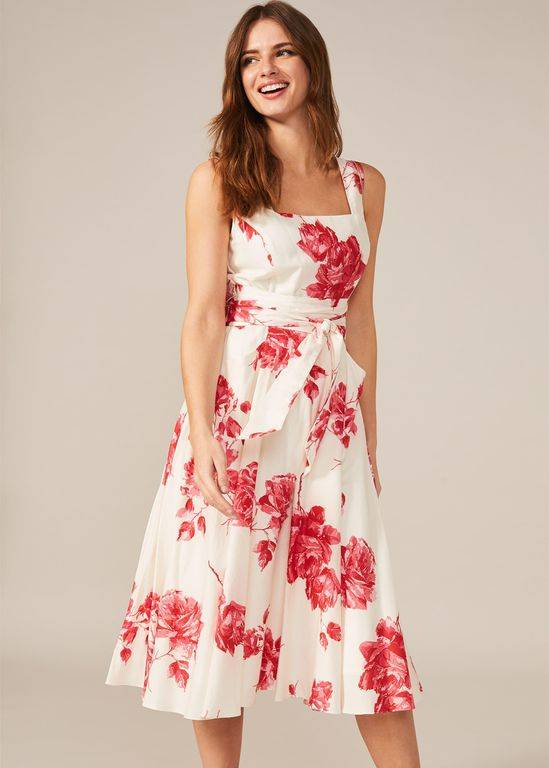 Phase Eight Elfrida Floral Print Fit And Flare Dress - Red - Phase Eight Dresses