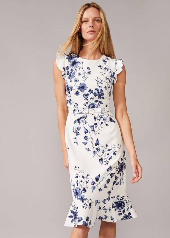 Phase Eight Tori Floral Fitted Dress - Blue - Phase Eight Dresses
