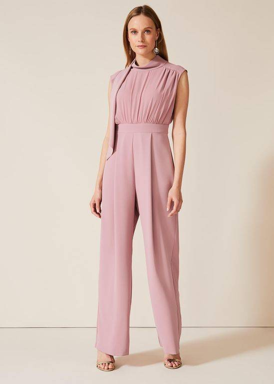 Phase Eight Sharon Tie Neck Jumpsuit - Pink - Phase Eight Jumpsuits